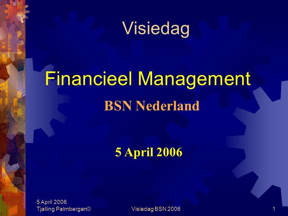 5 April 2006 Tjalling Palmbergen©Visiedag BSN 200611 Terreinafbakening Wat is financieel management Wie zijn betrokken Wat zijn de verschijningsvormen In hoeverre multidisciplinair Relatie met management-, cost-, revenu- en financial accounting