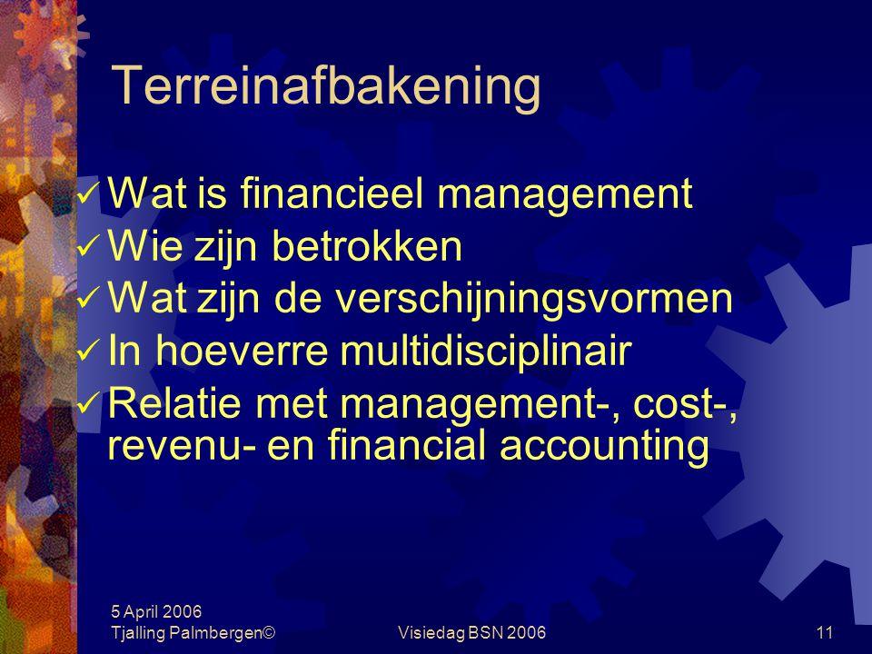 5 April 2006 Tjalling Palmbergen©Visiedag BSN 200610 Terreinafbakening Begrippenlijst financieel managementmanagement accounting financial accountingc