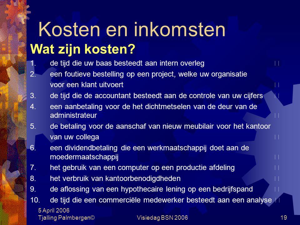 5 April 2006 Tjalling Palmbergen©Visiedag BSN 200618 Administratieve organisatie Vragen 1. Wat is het verschil tussen administreren (accounting) en bo