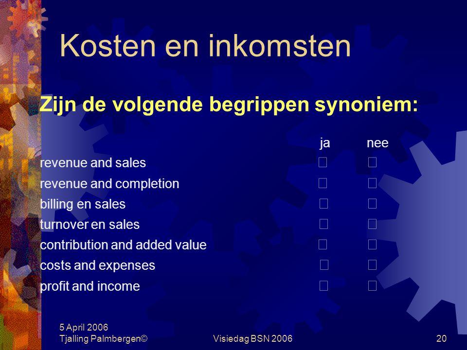 5 April 2006 Tjalling Palmbergen©Visiedag BSN 200619 Kosten en inkomsten Wat zijn kosten? 1.de tijd die uw baas besteedt aan intern overleg  2.een fo
