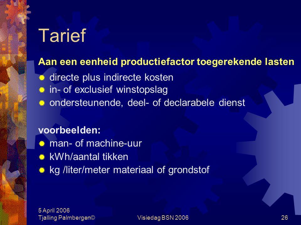 5 April 2006 Tjalling Palmbergen©Visiedag BSN 200625 Productie P r o d u c e r e n ProductiefactorenProducten personeelplan van aanpak freelancerstabe