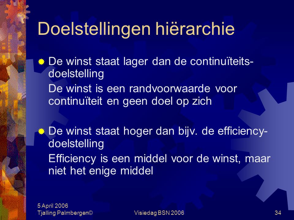 5 April 2006 Tjalling Palmbergen©Visiedag BSN 200633 Doelstellingen hiërarchie Praktijk A.organisatie doelstellingen B.middellange termijnplanning C.b