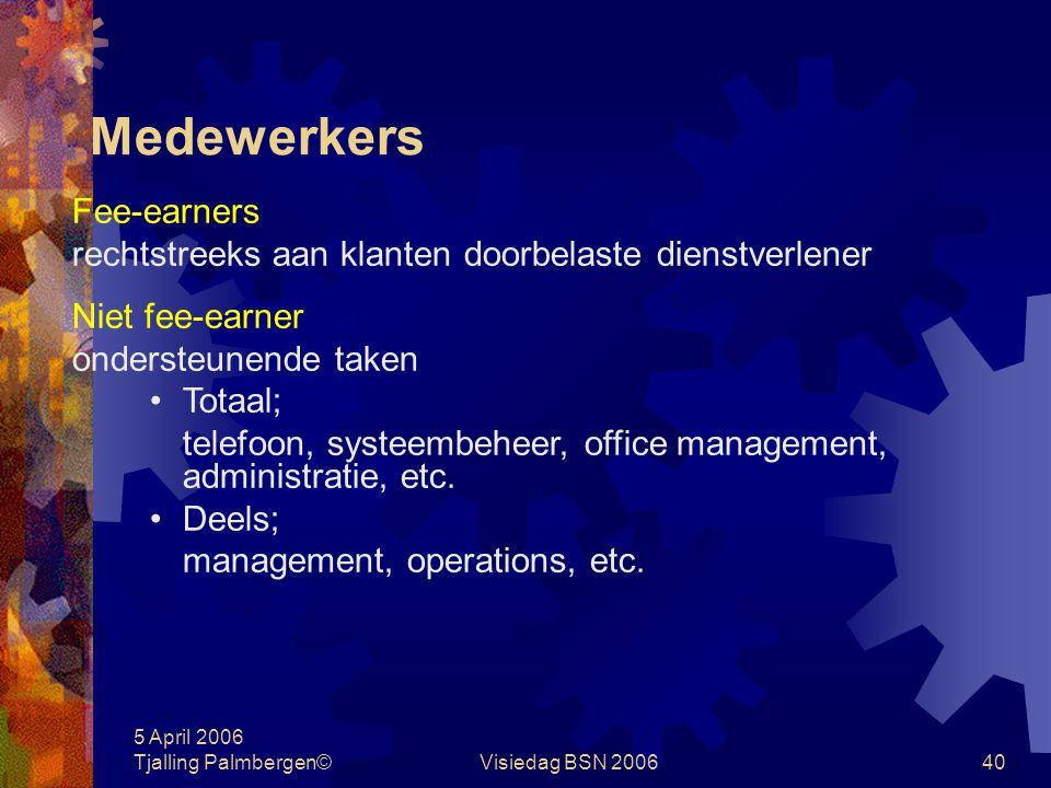 5 April 2006 Tjalling Palmbergen©Visiedag BSN 200639 Normcijfers zakelijke dienstverlening gemiddelde overige kosten per medewerker in € 1.000,- in %