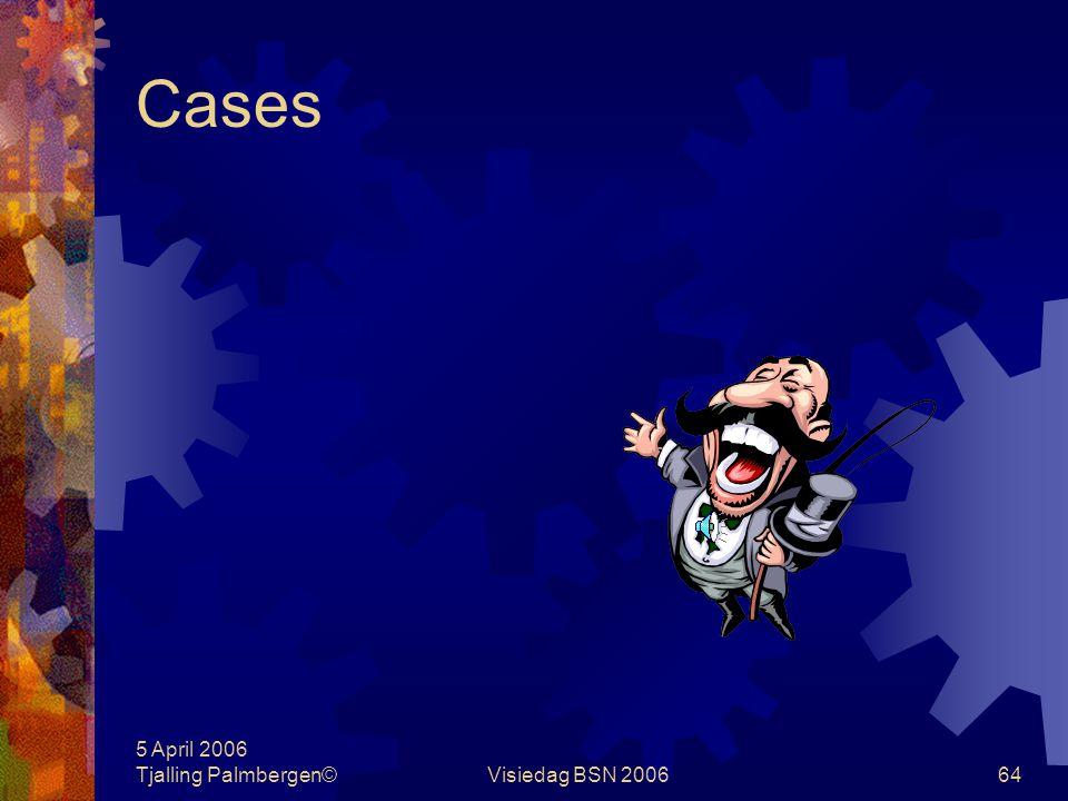 5 April 2006 Tjalling Palmbergen©Visiedag BSN 200663 Management informatiesystemen Dienstverleningsproces Oogtoezicht Urenrapportage Ad-hoc onderzoeke
