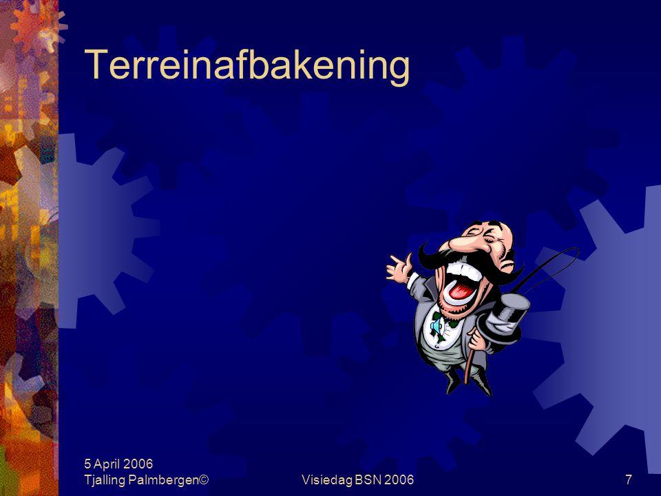 5 April 2006 Tjalling Palmbergen©Visiedag BSN 200657 Management informatiesystemen Kernpunten financieel management Doelgerichtheid en efficiency van de dienstverlening Financiële performance op de in- en verkoopmarkt Volledigheid van de opbrengstenverantwoording Juistheid van de kostenverantwoording