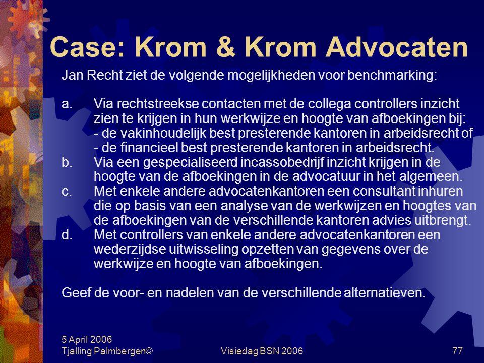5 April 2006 Tjalling Palmbergen©Visiedag BSN 200676 Case: Krom & Krom Advocaten Krom & Krom Advocaten B.V. is gespecialiseerd in arbeidsrecht. De afg