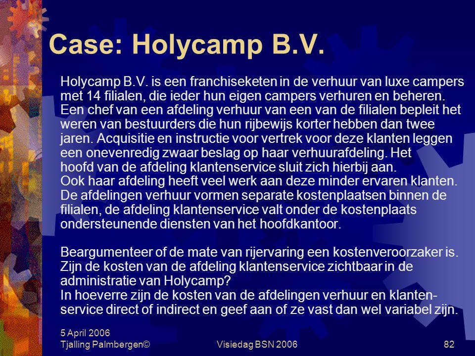 5 April 2006 Tjalling Palmbergen©Visiedag BSN 200681 Case: De Meubelfabriek Er is dit lopende jaar druk op de resultaten van de meubelfabriek. Volgens