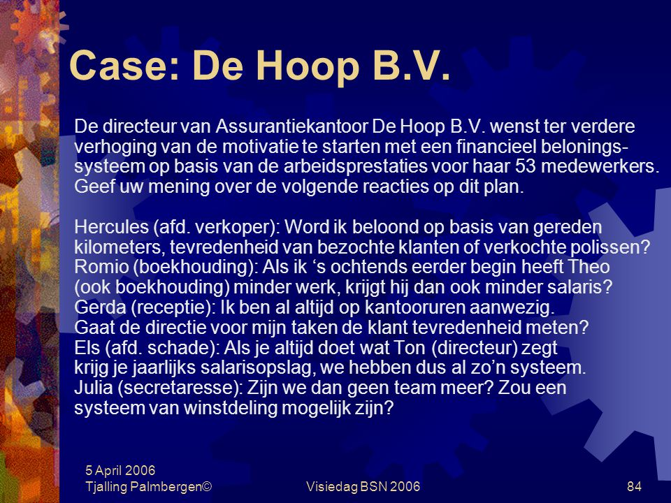 5 April 2006 Tjalling Palmbergen©Visiedag BSN 200683 Case: Adam Human Resource B.V. Alexander de Wit, controller van Adam Human Resource B.V., heeft o