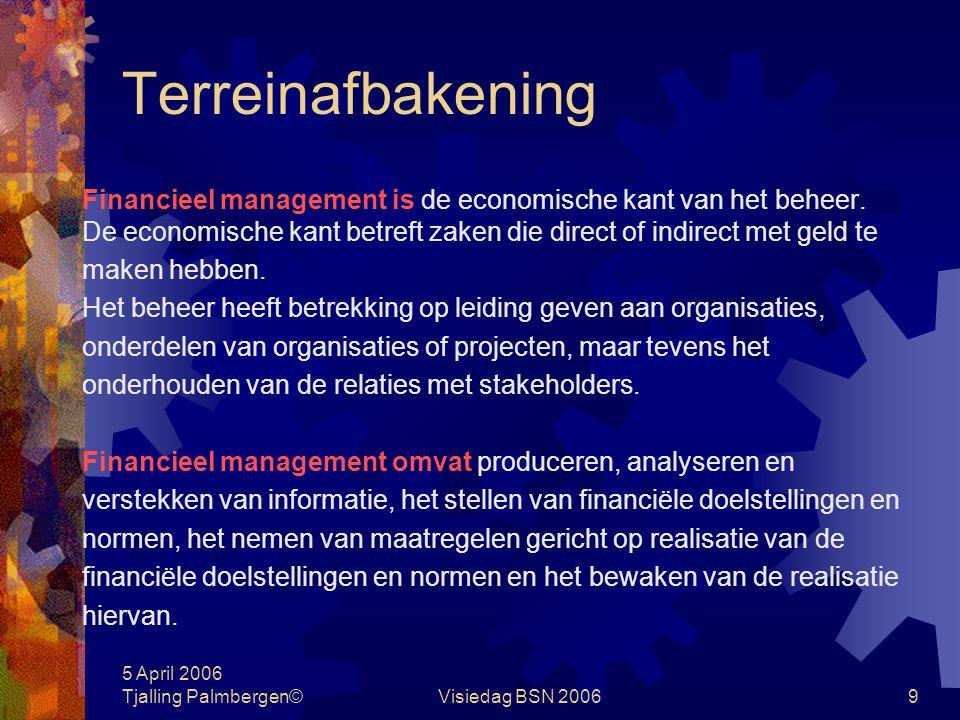 5 April 2006 Tjalling Palmbergen©Visiedag BSN 200659 Management informatiesystemen Financieel management Hoofdonderdelen van het MIS: Winst- en verliesrekening Balans Ratio's Urenrapportage