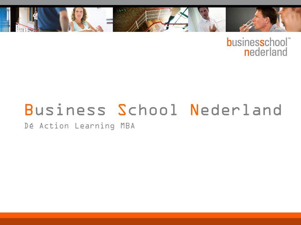 Onderscheidende kenmerken  Action Learning: eigen praktijk centraal  Nederlandstalig  Rendement deelnemer en organisatie  Flexibel studieprogramma (parallelgroepen)  Klant- en kwaliteitsgericht (evaluaties)  Drukke agenda manager is uitgangspunt