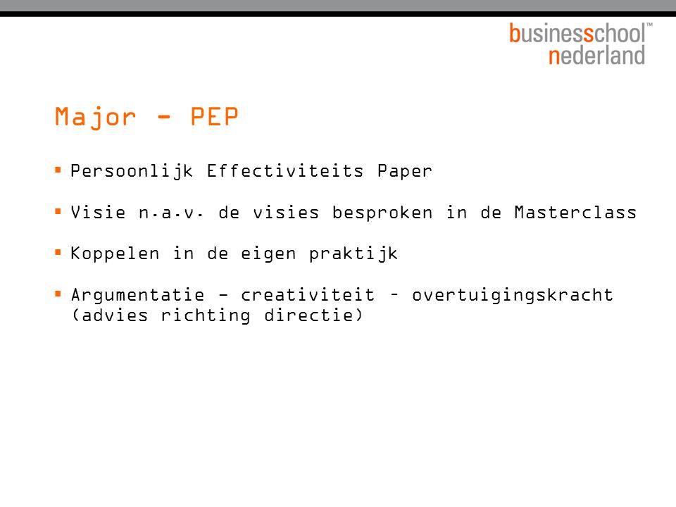 Major - PEP  Persoonlijk Effectiviteits Paper  Visie n.a.v. de visies besproken in de Masterclass  Koppelen in de eigen praktijk  Argumentatie - c