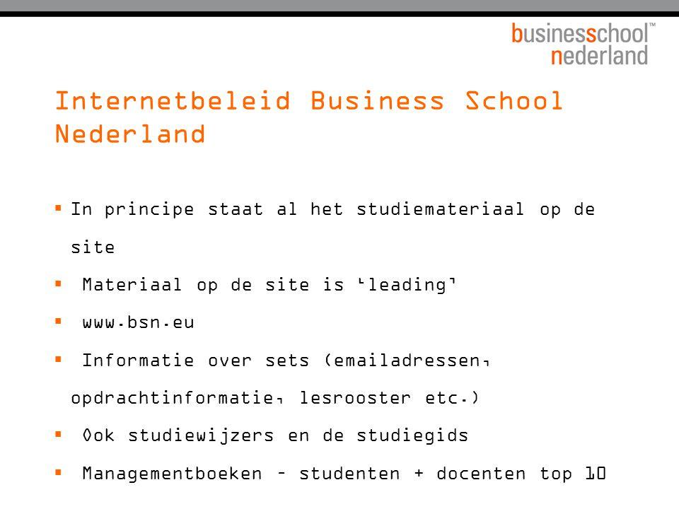 Internetbeleid Business School Nederland  In principe staat al het studiemateriaal op de site  Materiaal op de site is 'leading'  www.bsn.eu  Info