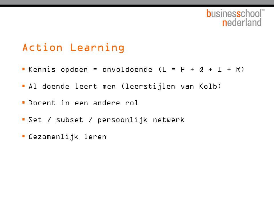Action Learning  Kennis opdoen = onvoldoende (L = P + Q + I + R)  Al doende leert men (leerstijlen van Kolb)  Docent in een andere rol  Set / subs