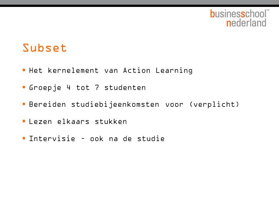 Internetbeleid Business School Nederland  In principe staat al het studiemateriaal op de site  Materiaal op de site is 'leading'  www.bsn.eu  Informatie over sets (emailadressen, opdrachtinformatie, lesrooster etc.)  Ook studiewijzers en de studiegids  Managementboeken – studenten + docenten top 10