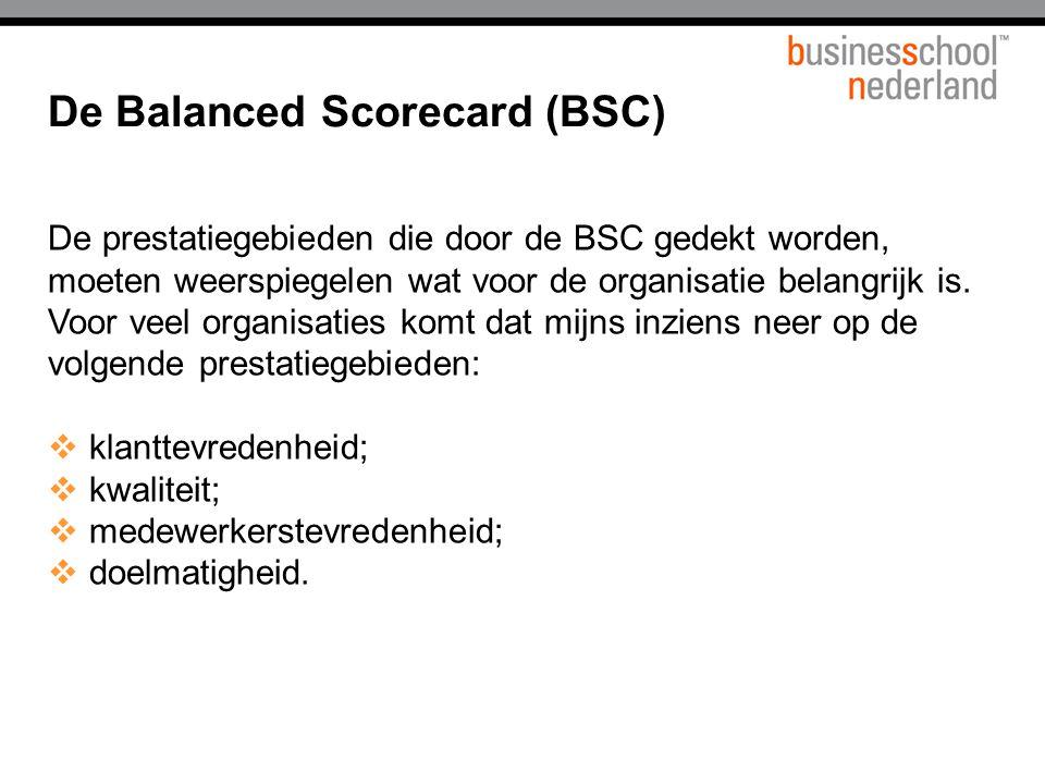 De prestatiegebieden die door de BSC gedekt worden, moeten weerspiegelen wat voor de organisatie belangrijk is.