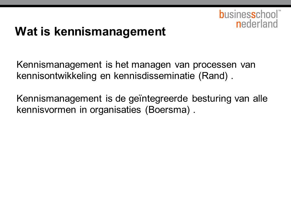 Kennismanagement is het managen van processen van kennisontwikkeling en kennisdisseminatie (Rand).