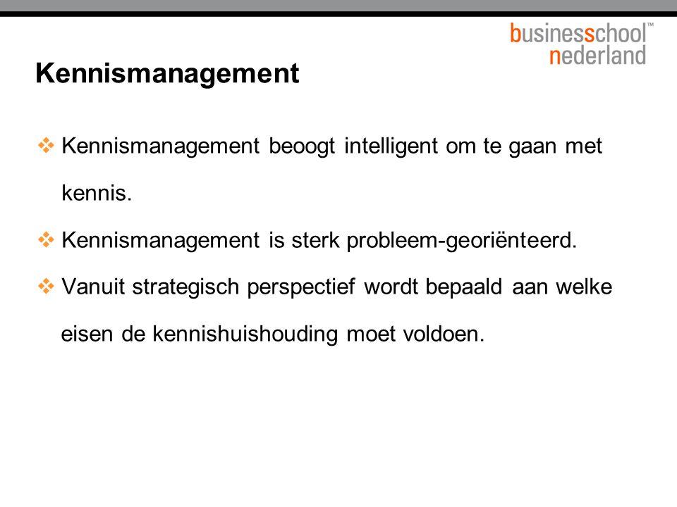  Kennismanagement beoogt intelligent om te gaan met kennis.