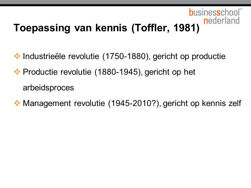  Industrieële revolutie (1750-1880), gericht op productie  Productie revolutie (1880-1945), gericht op het arbeidsproces  Management revolutie (1945-2010?), gericht op kennis zelf Toepassing van kennis (Toffler, 1981)
