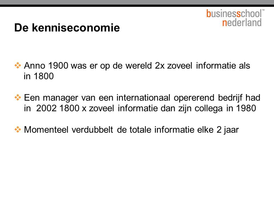 De kenniseconomie  Anno 1900 was er op de wereld 2x zoveel informatie als in 1800  Een manager van een internationaal opererend bedrijf had in 2002 1800 x zoveel informatie dan zijn collega in 1980  Momenteel verdubbelt de totale informatie elke 2 jaar