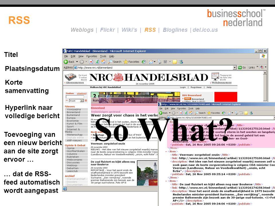 Voorbeeld… Een RSS-feed......