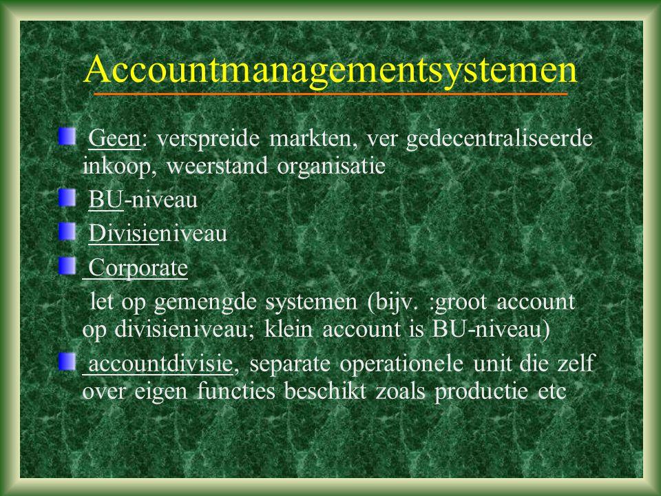 Accountmanagementsystemen Geen: verspreide markten, ver gedecentraliseerde inkoop, weerstand organisatie BU-niveau Divisieniveau Corporate let op gemengde systemen (bijv.