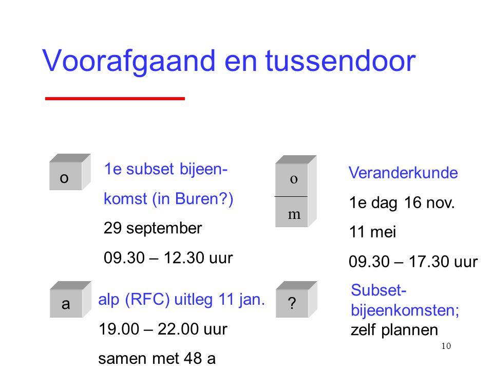10 Voorafgaand en tussendoor o m o 1e subset bijeen- komst (in Buren?) 29 september 09.30 – 12.30 uur Veranderkunde 1e dag 16 nov. 11 mei 09.30 – 17.3