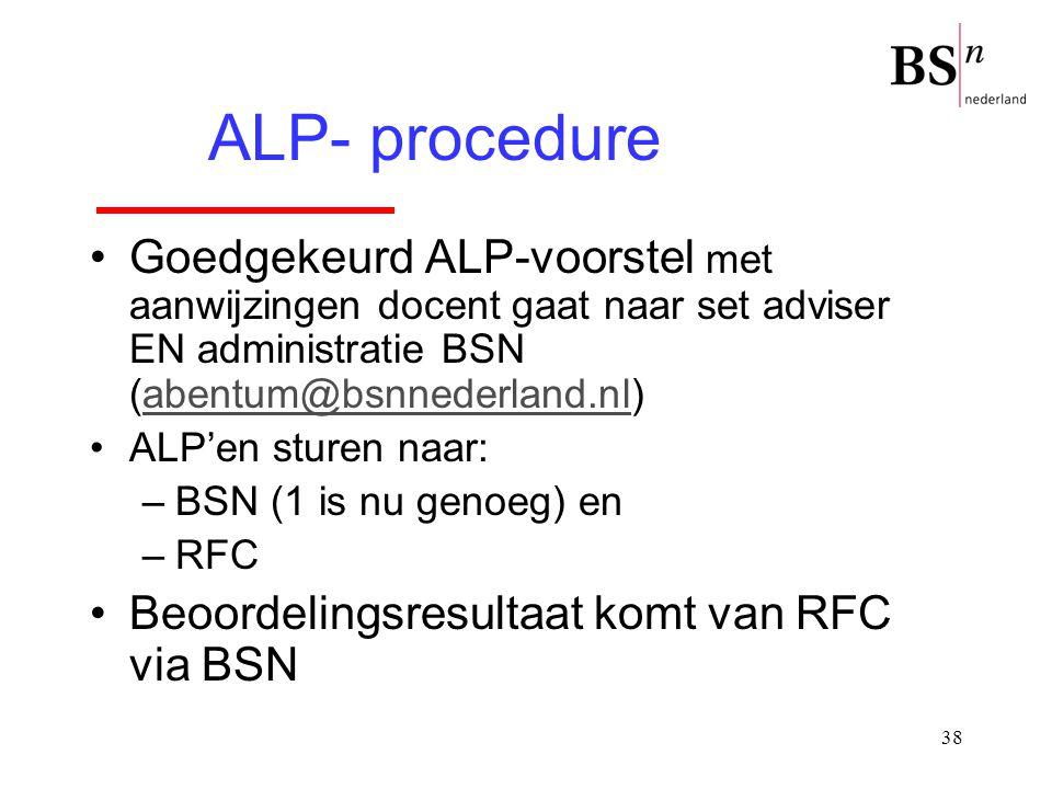 38 Goedgekeurd ALP-voorstel met aanwijzingen docent gaat naar set adviser EN administratie BSN (abentum@bsnnederland.nl)abentum@bsnnederland.nl ALP'en