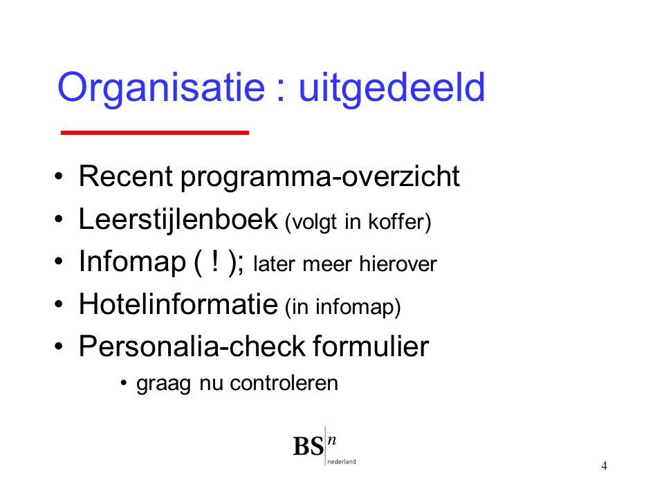 4 Organisatie : uitgedeeld Recent programma-overzicht Leerstijlenboek (volgt in koffer) Infomap ( ! ); later meer hierover Hotelinformatie (in infomap