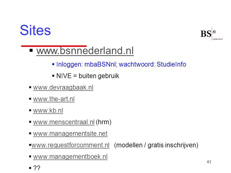41 Sites  www.bsnnederland.nlwww.bsnnederland.nl  Inloggen: mbaBSNnl; wachtwoord: StudieInfo  NIVE = buiten gebruik  www.devraagbaak.nlwww.devraag
