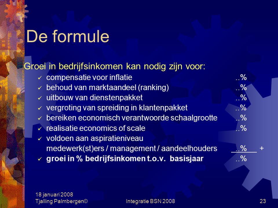 18 januari 2008 Tjalling Palmbergen©Integratie BSN 200822 De formule Vaste verhouding bedrijfsinkomen / eigen vermogen behoud weerstandsvermogen (bank, leveranciers en klanten) bron voor werkkapitaal Ervaringsregel: 25 à 35%