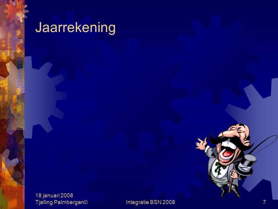 18 januari 2008 Tjalling Palmbergen©Integratie BSN 20086 Subset vragen Subset 4 Vragen: