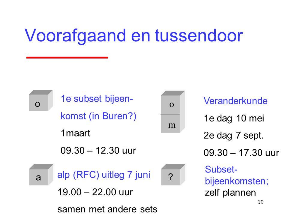 10 Voorafgaand en tussendoor o m o 1e subset bijeen- komst (in Buren?) 1maart 09.30 – 12.30 uur Veranderkunde 1e dag 10 mei 2e dag 7 sept. 09.30 – 17.
