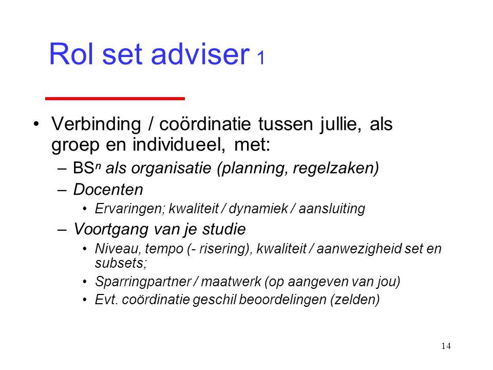 14 Verbinding / coördinatie tussen jullie, als groep en individueel, met: –BSⁿ als organisatie (planning, regelzaken) –Docenten Ervaringen; kwaliteit