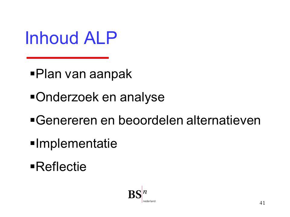 41 Inhoud ALP  Plan van aanpak  Onderzoek en analyse  Genereren en beoordelen alternatieven  Implementatie  Reflectie