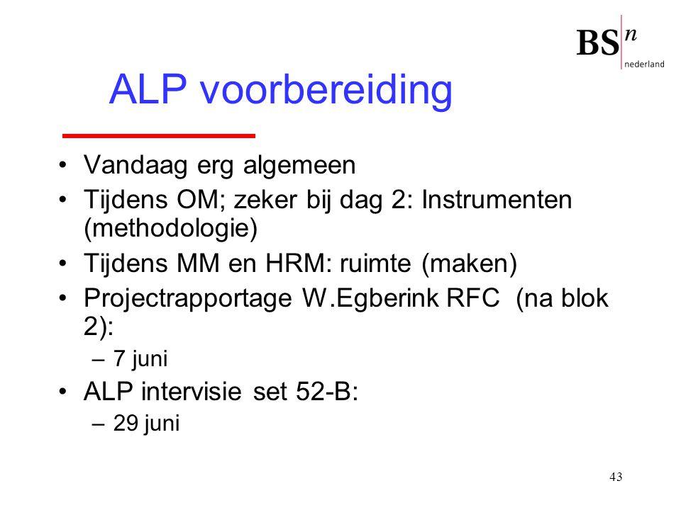 43 Vandaag erg algemeen Tijdens OM; zeker bij dag 2: Instrumenten (methodologie) Tijdens MM en HRM: ruimte (maken) Projectrapportage W.Egberink RFC (n