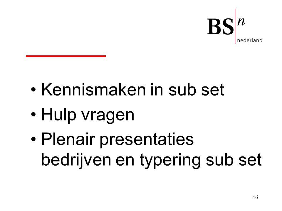 46 Kennismaken in sub set Hulp vragen Plenair presentaties bedrijven en typering sub set