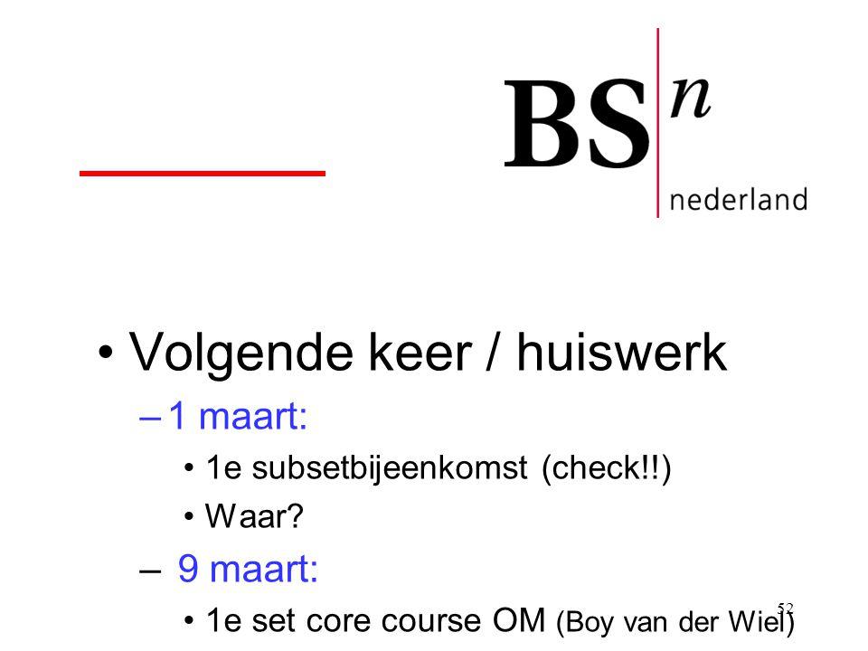 52 Volgende keer / huiswerk –1 maart: 1e subsetbijeenkomst (check!!) Waar? – 9 maart: 1e set core course OM (Boy van der Wiel)