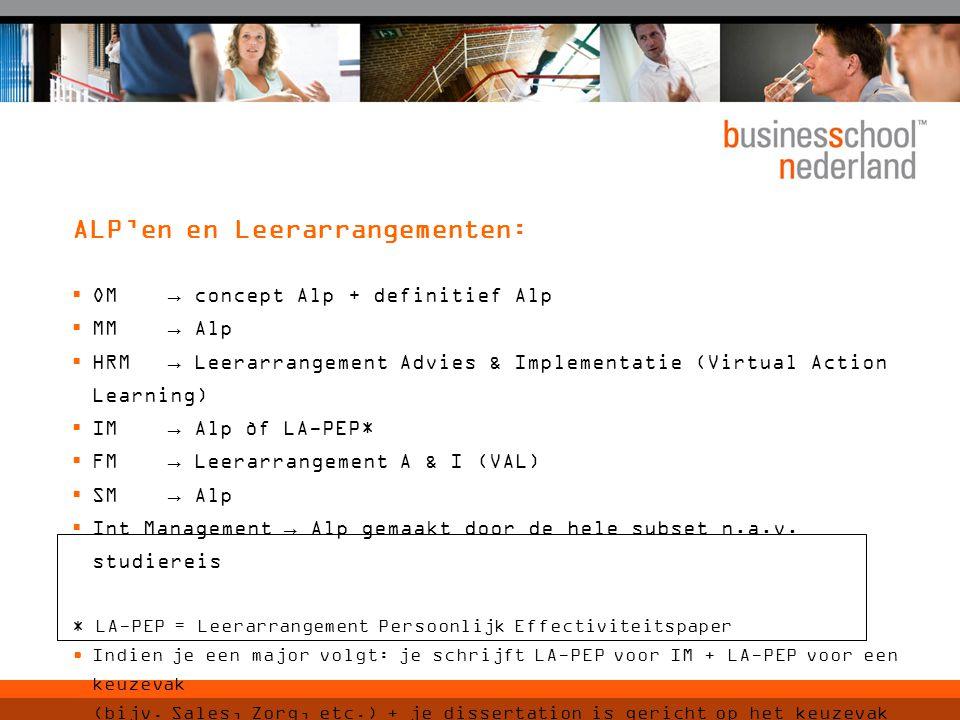 ALP'en en Leerarrangementen:  OM→ concept Alp + definitief Alp  MM → Alp  HRM → Leerarrangement Advies & Implementatie (Virtual Action Learning) 