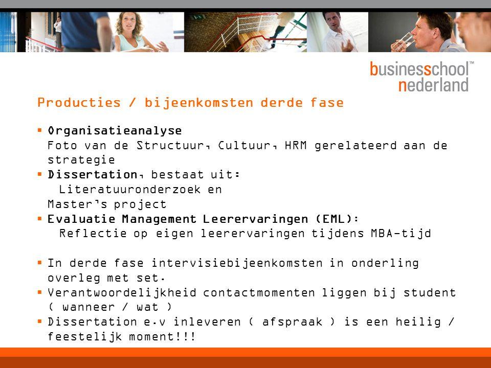 Producties / bijeenkomsten derde fase  Organisatieanalyse Foto van de Structuur, Cultuur, HRM gerelateerd aan de strategie  Dissertation, bestaat ui