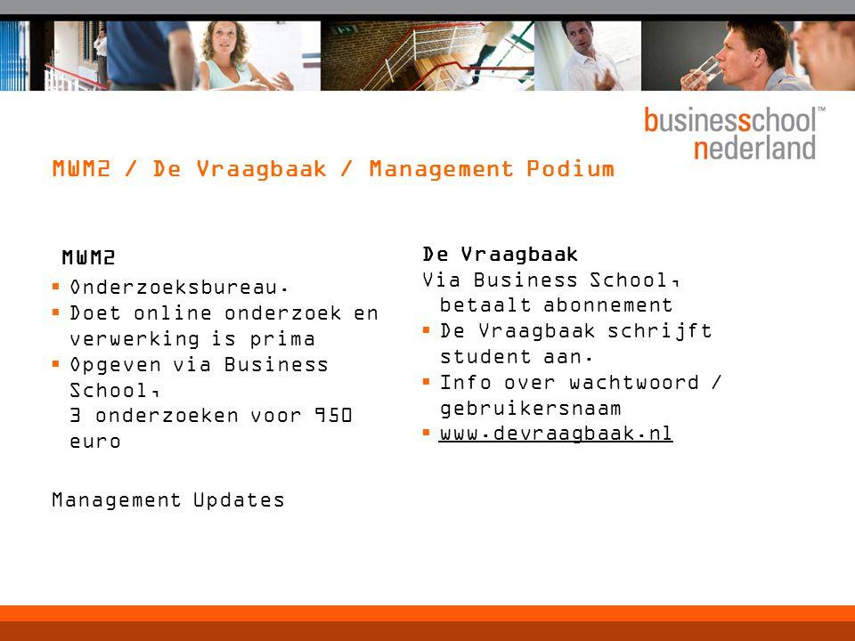 MWM2 / De Vraagbaak / Management Podium MWM2  Onderzoeksbureau.  Doet online onderzoek en verwerking is prima  Opgeven via Business School, 3 onder