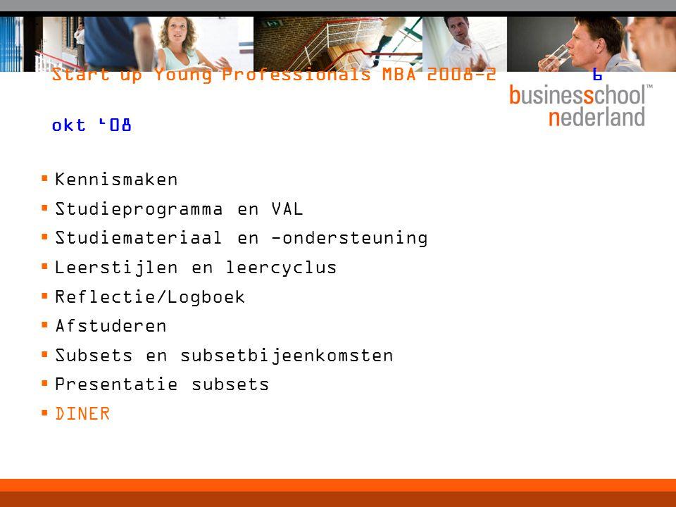 Start up Young Professionals MBA 2008-26 okt '08  Kennismaken  Studieprogramma en VAL  Studiemateriaal en -ondersteuning  Leerstijlen en leercyclu