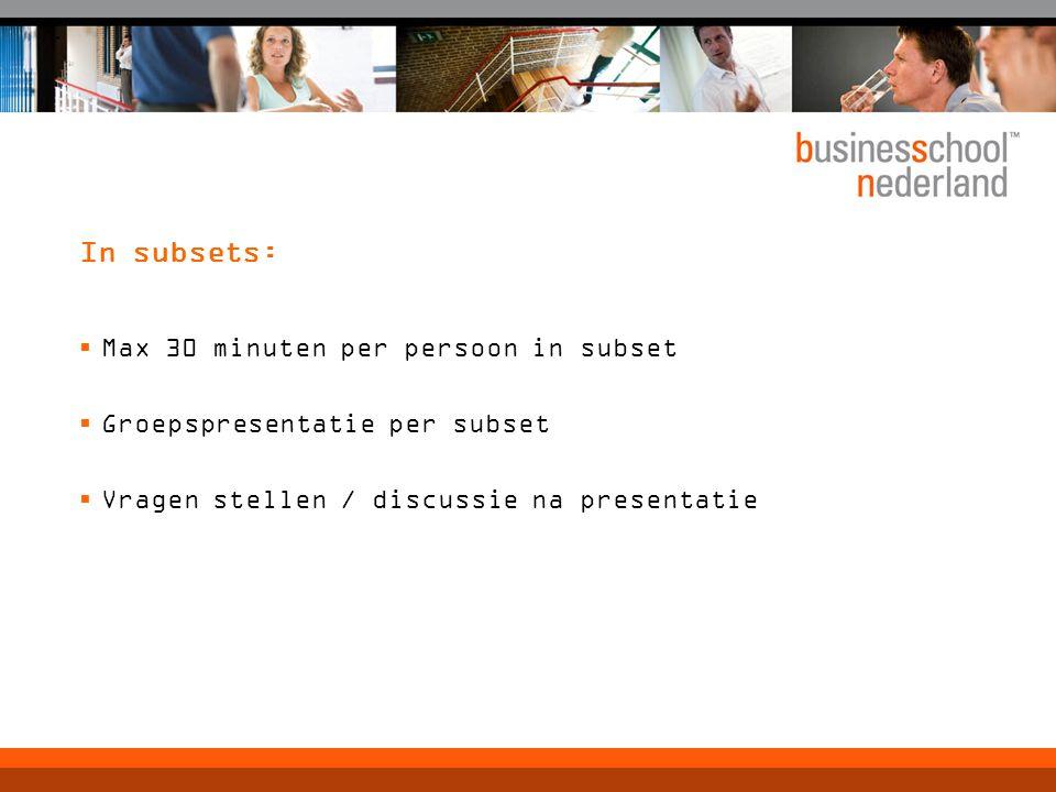 In subsets:  Max 30 minuten per persoon in subset  Groepspresentatie per subset  Vragen stellen / discussie na presentatie