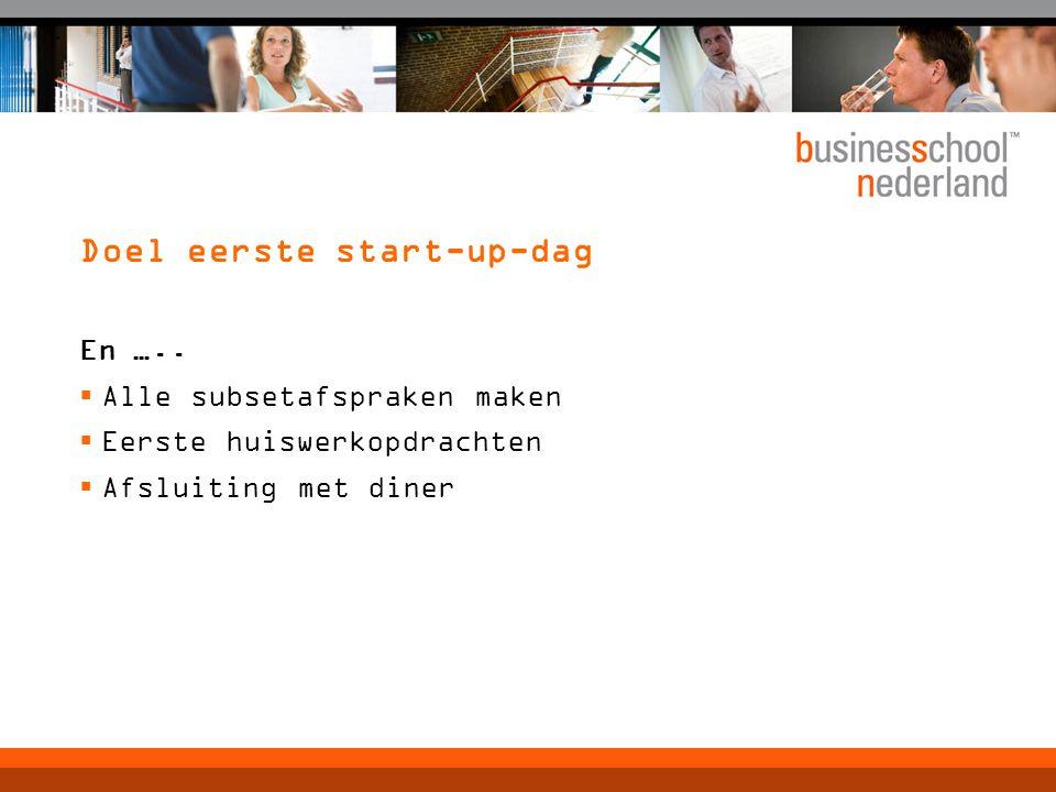 Doel eerste start-up-dag En …..  Alle subsetafspraken maken  Eerste huiswerkopdrachten  Afsluiting met diner