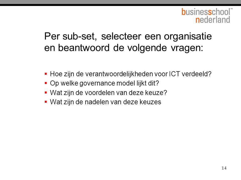 14 Per sub-set, selecteer een organisatie en beantwoord de volgende vragen:  Hoe zijn de verantwoordelijkheden voor ICT verdeeld?  Op welke governan