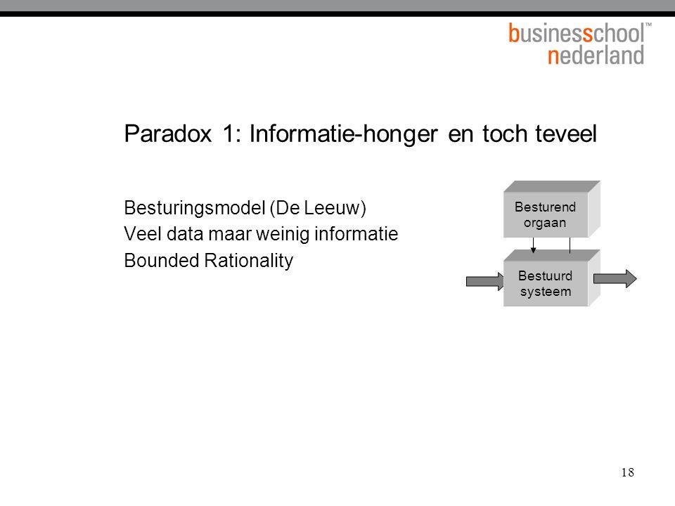 18 Paradox 1: Informatie-honger en toch teveel Bestuurd systeem Besturend orgaan Besturingsmodel (De Leeuw) Veel data maar weinig informatie Bounded R