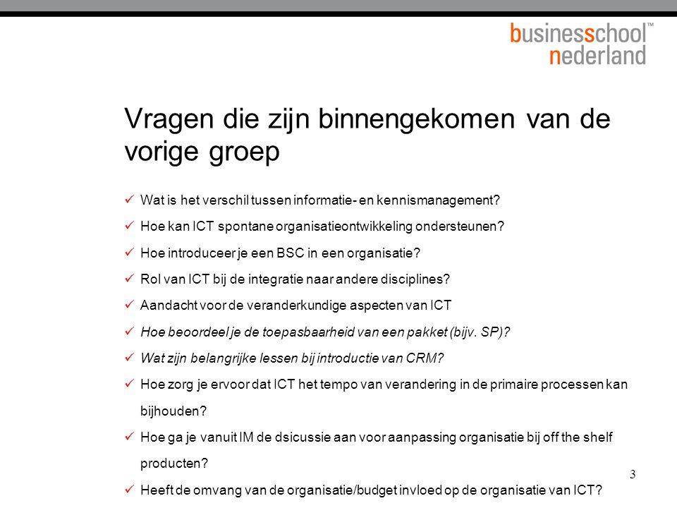 3 Vragen die zijn binnengekomen van de vorige groep Wat is het verschil tussen informatie- en kennismanagement? Hoe kan ICT spontane organisatieontwik