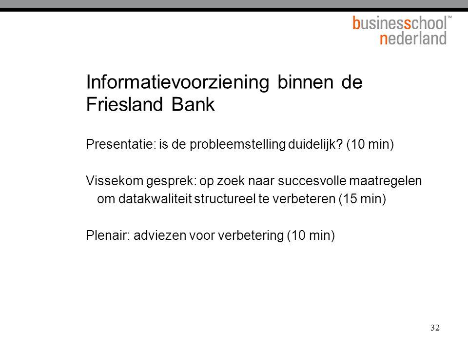 32 Informatievoorziening binnen de Friesland Bank Presentatie: is de probleemstelling duidelijk? (10 min) Vissekom gesprek: op zoek naar succesvolle m