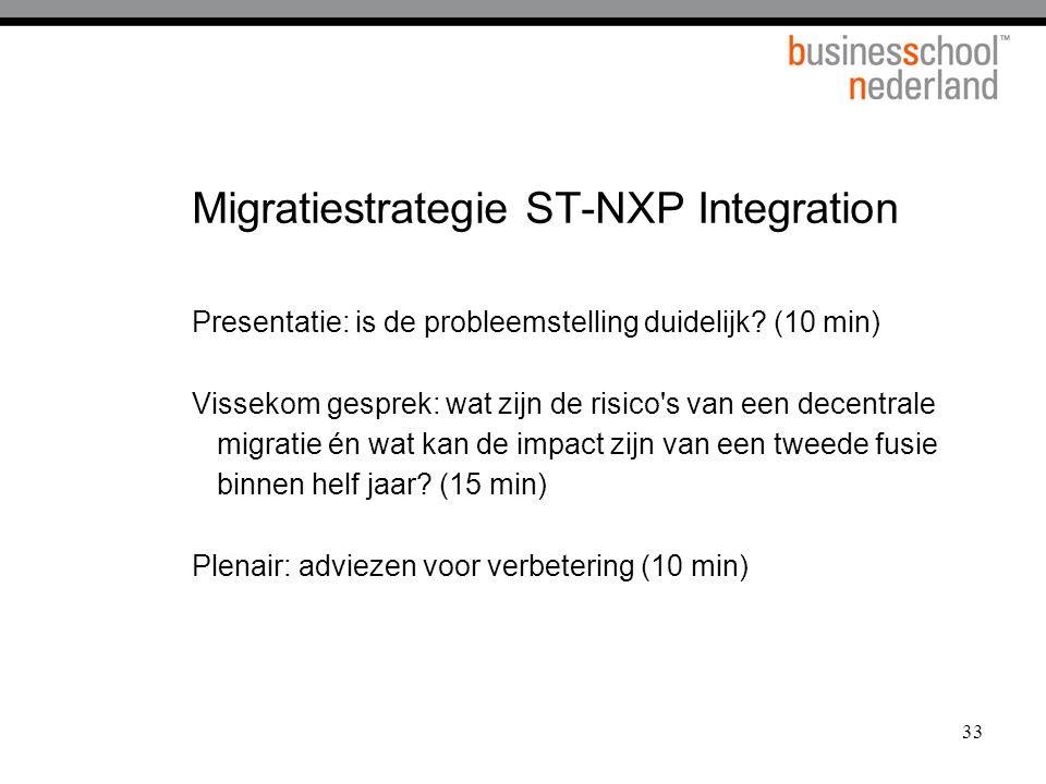 33 Migratiestrategie ST-NXP Integration Presentatie: is de probleemstelling duidelijk? (10 min) Vissekom gesprek: wat zijn de risico's van een decentr