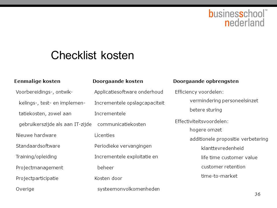 36 Checklist kosten Eenmalige kosten Voorbereidings-, ontwik- kelings-, test- en implemen- tatiekosten, zowel aan gebruikerszijde als aan IT-zijde Nie