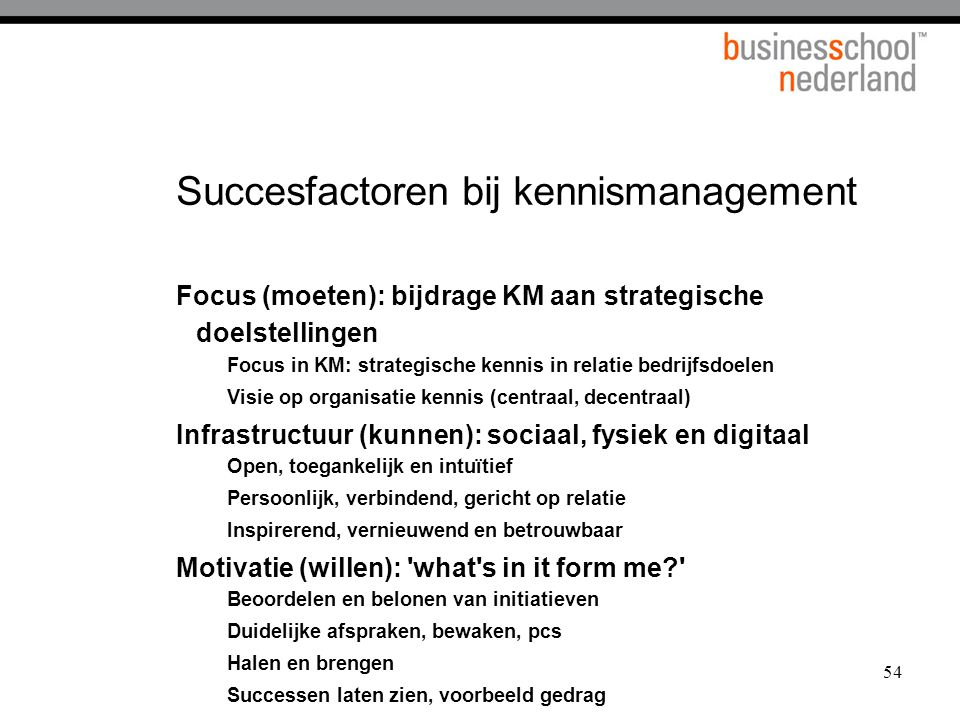 54 Succesfactoren bij kennismanagement Focus (moeten): bijdrage KM aan strategische doelstellingen Focus in KM: strategische kennis in relatie bedrijf